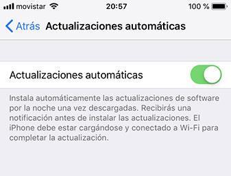 actualizaciones automáticas ios 12