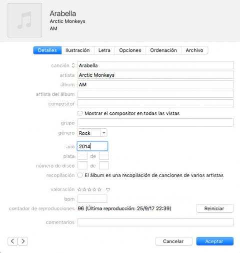 cambiar datos canciones itunes