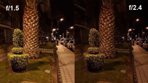Foto nocturna con distintas aperturas
