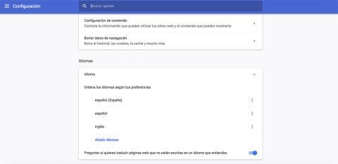Idiomas en Google Chrome