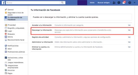 Cómo descargar datos de Facebook