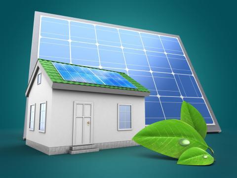 Casa con panel solar