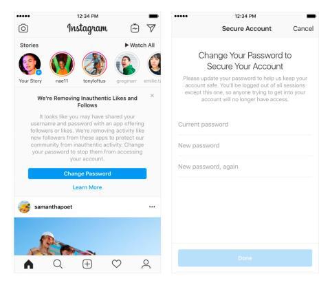 mensaje cuentas falsas instagram