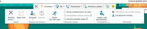 menu acciones teamviewer