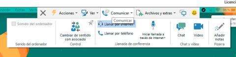 menú comunicar teamviewer