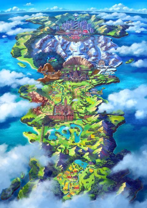 Pokémon Espada Escudo mapa Galar