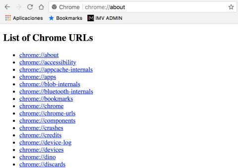 Páginas internas Chrome