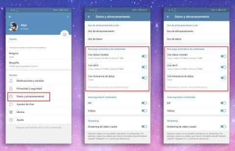 Ahorrar datos Telegram