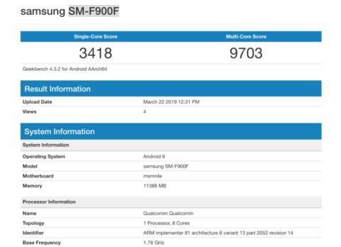 Geekbench Samsung Galaxy Fold