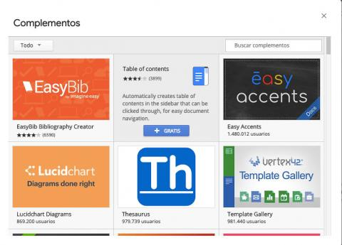 Complementos de Google Docs