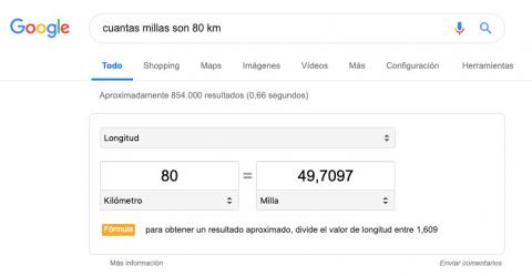 Conversor de medidas de Google