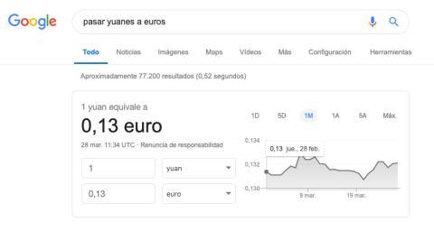 Convertir moneda en Google
