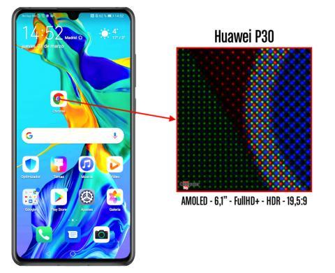 Detalle de los píxeles de la pantalla del P30