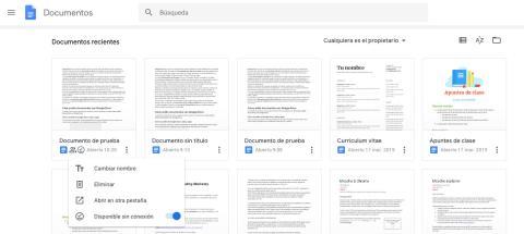 Documentos disponibles sin conexión