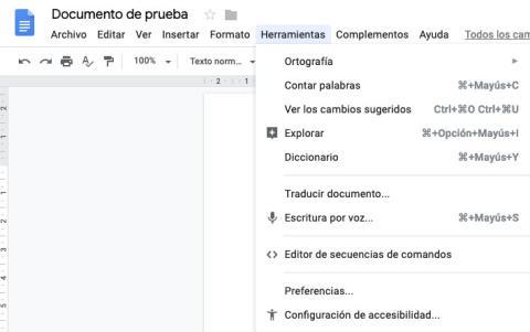Menú herramientas en Google Docs