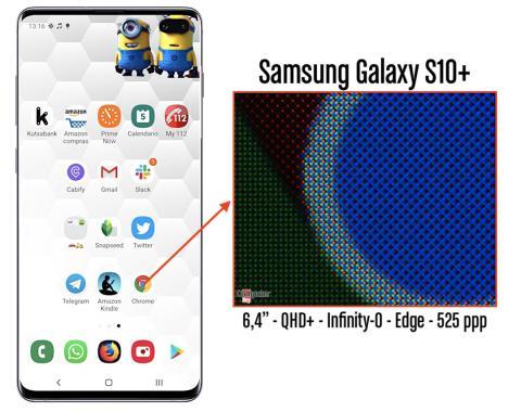 Detalle de la pantalla del Samsung Galaxy S10+