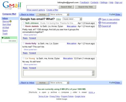 gmail en 2004