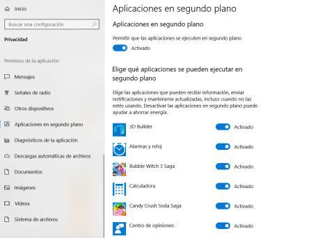Aplicaciones segundo plano Windows 10