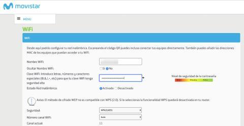 Cambiar la clave del WiFi de Movistar