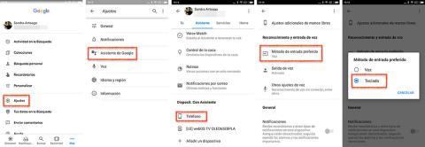 Cambiar método de entrada en el asistente de Google