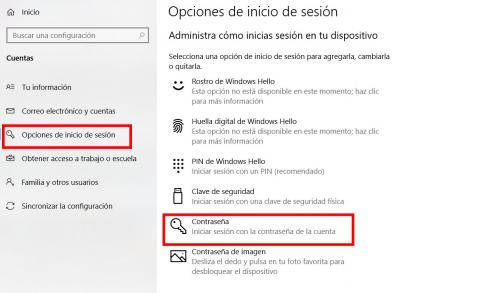 Contraseña Windows 10