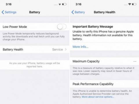 mensaje de error batería iPhone