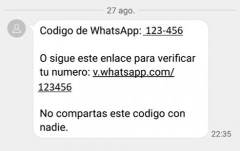 Código de verificación falso de WhatsApp