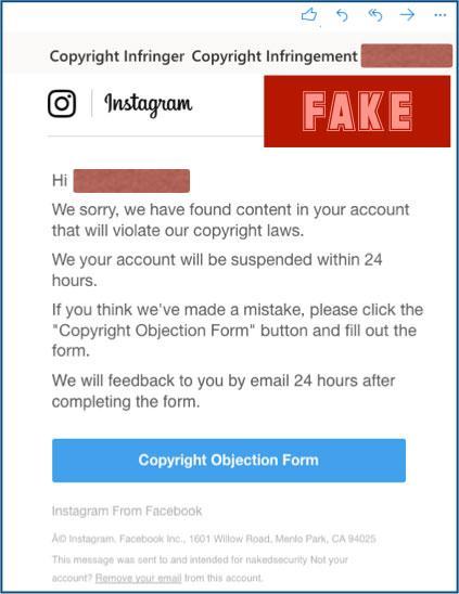 Correo falso Instagram