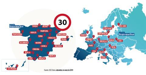Mapa limitación 30 km/h DGT