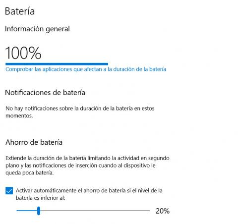 Informe batería Windows 10