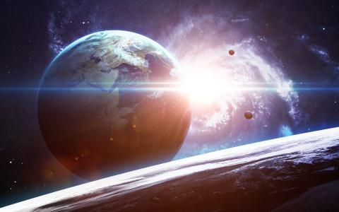 Exoplaneta con satélites y galaxia