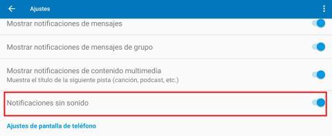 Notificaciones sin sonido, Android Auto