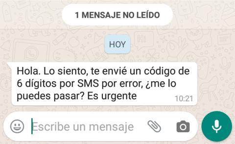 mensaje estafa sms whatsapp