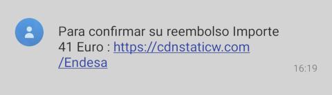 SMS estafa de Endesa