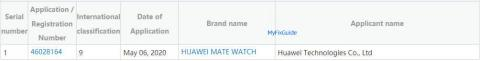 Registro Huawei Mate Watch