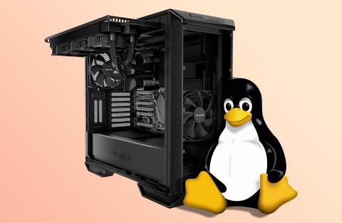 PC con Tux, mascota de Linux