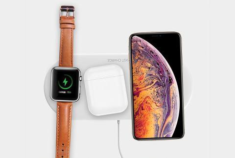 Cargador inalámbrico triple para móviles y Apple Watch de Amstar