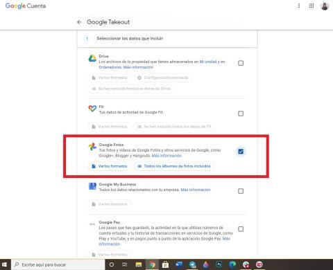 Exportar Google Fotos