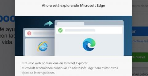 Internet Explorer abre webs en Edge