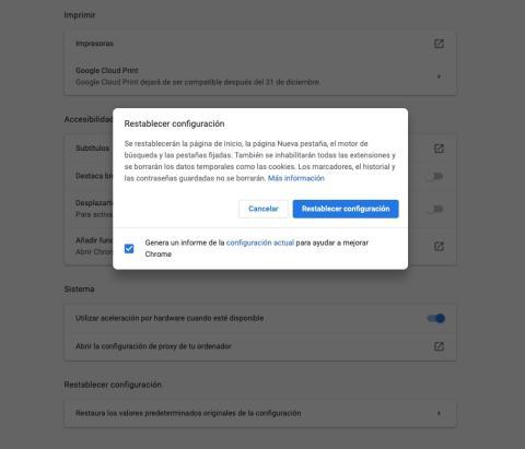 Restaurar valores iniciales de Chrome