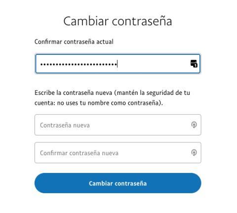 Cambiar contraseña en PayPal
