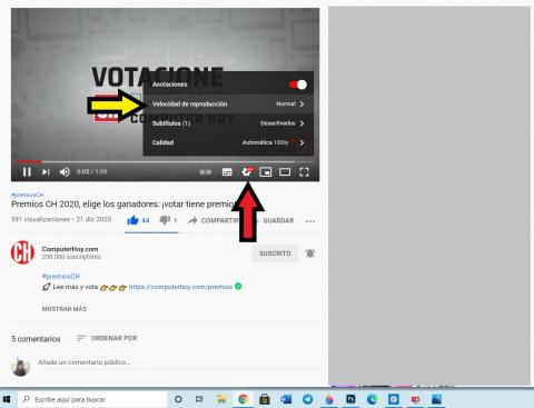 Cambiar la velocidad de reproducción en YouTube