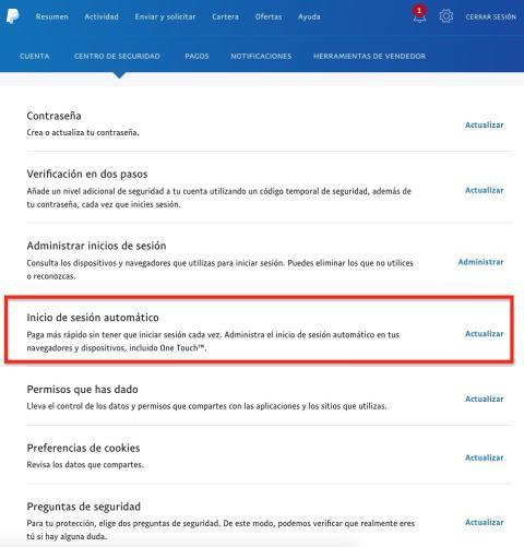 Inicio de sesión automático de PayPal