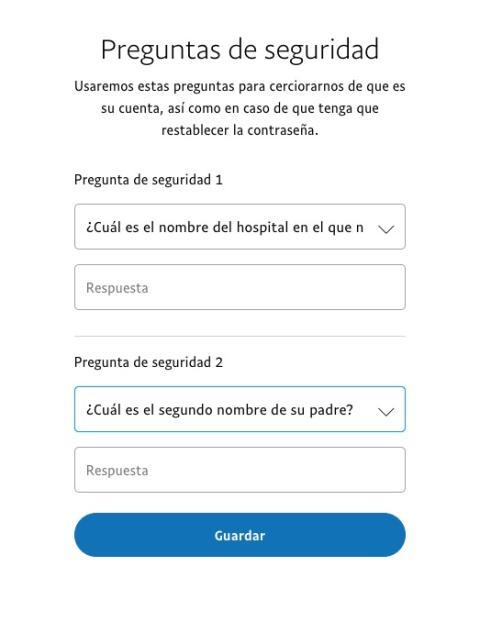 Preguntas de seguridad de PayPal