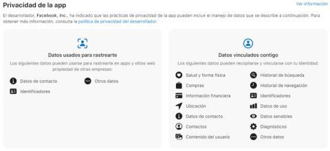 Tarjeta de privacidad de Facebook en la App Store