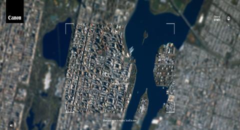 Canon ha lanzado una web con la que podemos hacer fotos desde un satélite de verdad