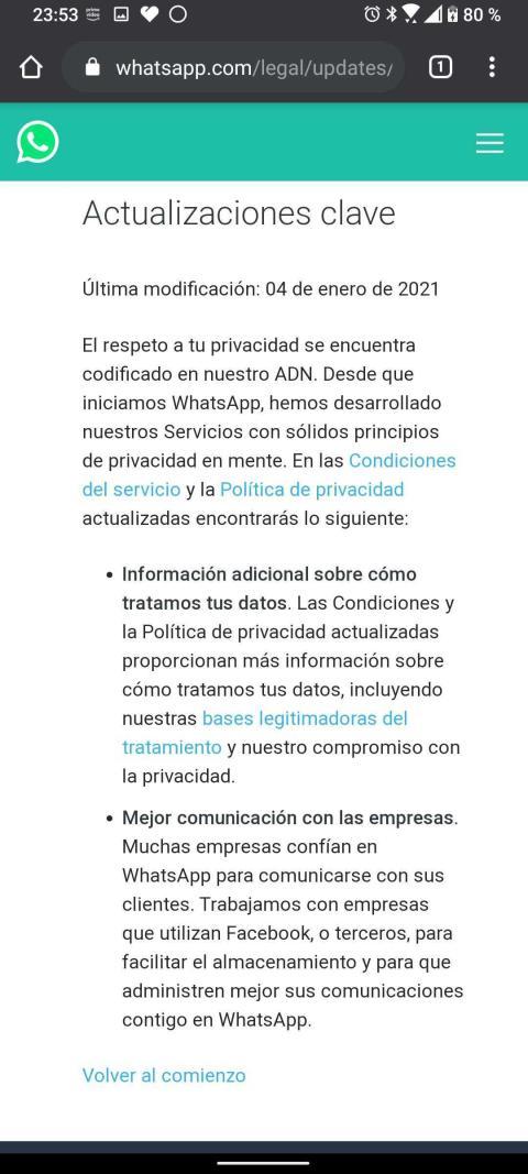 Política de uso y privacidad WhatsApp 2021