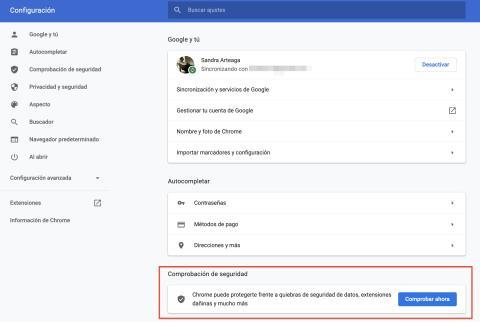Comprobación de seguridad en Google Chrome