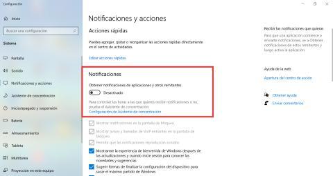 Desactivar notificaciones en Windows 10