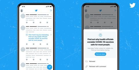 Tweet con aviso por desinformación de las vacunas